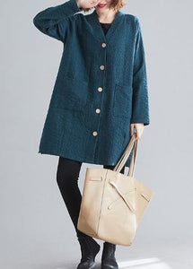 Elegant blackish green Fine casual coats women Work Outfits v neck Button coats