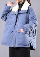 Load image into Gallery viewer, Elegant blue Parkas for women Loose fitting winter jacket lapel pockets zippered overcoat