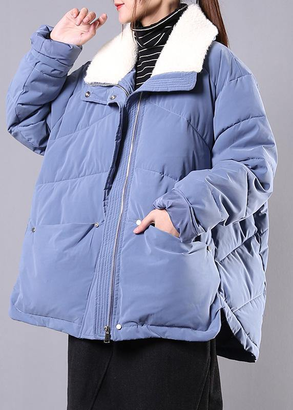 Elegant blue Parkas for women Loose fitting winter jacket lapel pockets zippered overcoat