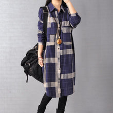 Load image into Gallery viewer, Elegant blue cotton dresses trendy plus size cotton maxi dress 2018 lapel collar plaid cotton dress