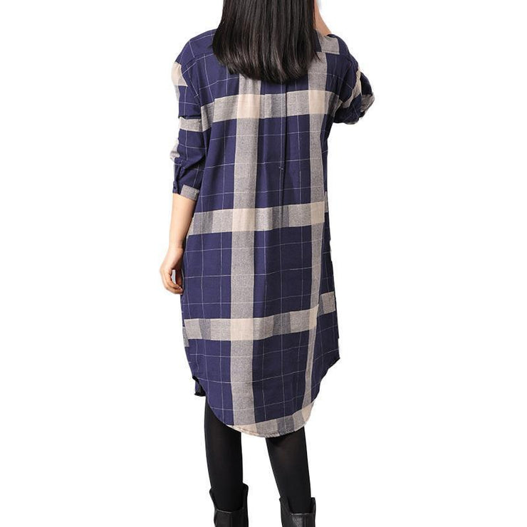 Elegant blue cotton dresses trendy plus size cotton maxi dress 2018 lapel collar plaid cotton dress