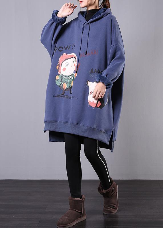 Elegant blue print cotton box top hooded drawstring fall blouse