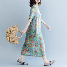 Load image into Gallery viewer, Elegant blue print linen dresses plus size clothing v neck a line skirts caftans 2018 short sleeve dresses