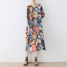 Load image into Gallery viewer, Elegant blue prints cotton dresses plus size clothing side open traveling clothing 2017 o neck kaftans