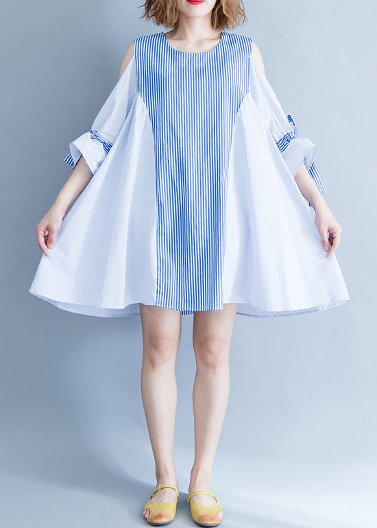 Elegant blue striped Cotton clothes plus size Fabrics off the shoulder summer Dresses
