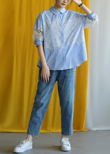 Elegant blue striped cotton Blouse lace patchwork silhouette fall shirt
