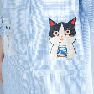 Elegant blue striped cotton knee dress Loose fitting traveling dress top quality patchwork cats prints shirt dress