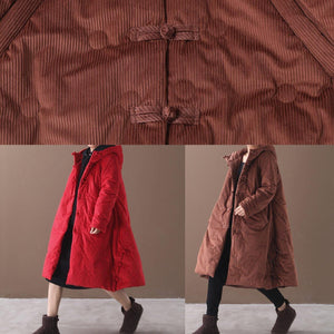 Elegant brown outwear trendy plus size warm winter coat Chinese Button hooded coats