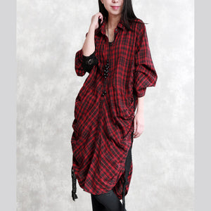 Elegant burgundy Plaid natural linen shirt dress plus size traveling dress long sleeve wrinkled Elegant Turn-down Collar patchwork linen shirt dresses