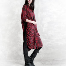 Load image into Gallery viewer, Elegant burgundy Plaid natural linen shirt dress plus size traveling dress long sleeve wrinkled Elegant Turn-down Collar patchwork linen shirt dresses