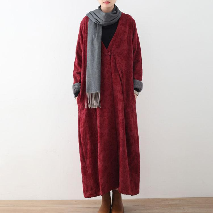 Elegant burgundy cotton jackets casual maxi coat vintage trench coat thick