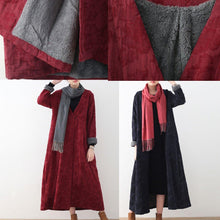Load image into Gallery viewer, Elegant burgundy cotton jackets casual maxi coat vintage trench coat thick