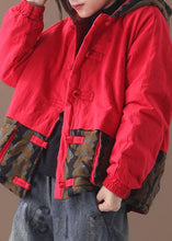 Load image into Gallery viewer, Elegant casual winter jacket patchwork coats red short hooded overcoat