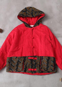 Elegant casual winter jacket patchwork coats red short hooded overcoat