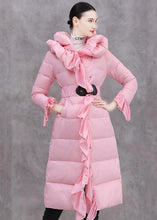 Load image into Gallery viewer, Elegant casual winter jacket ruffles Jackets pink tie waist duck down coat
