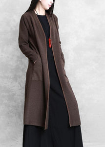 Elegant chocolate coat plus size long coat pockets