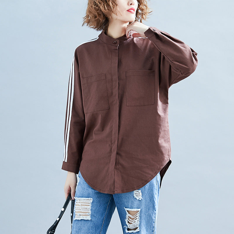 Elegant chocolate linen clothes For Women Organic Neckline long sleeve box patchwork striped top