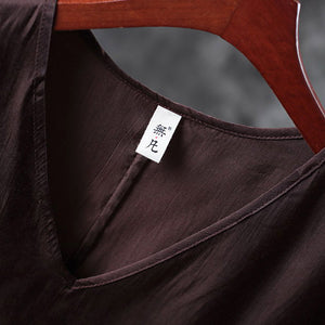 Elegant chocolate linen waistcoat plus size linen t shirts casual Sleeveless v neck linen clothing t shirt