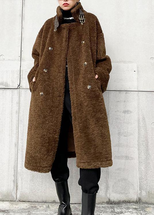 Elegant chocolate woolen coats Winter coat lapel pockets coats
