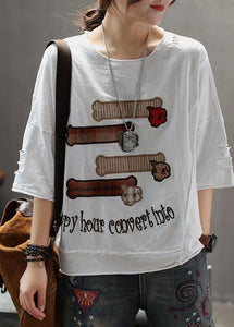 Elegant cotton Tunic Organic Summer Women Embroidery Loose Casual T-Shirt