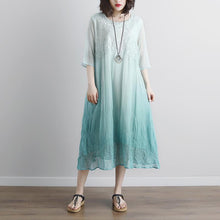 Load image into Gallery viewer, Elegant cotton blouse oversize Fake Two-piece Pockets Retro Green Summer Dress