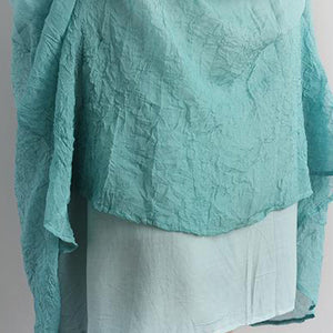 Elegant cotton blouse oversize Fake Two-piece Pockets Retro Green Summer Dress