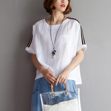 Load image into Gallery viewer, Elegant cotton linen blouse plus size clothing High-low Hem Summer Short Sleeve White Blouse