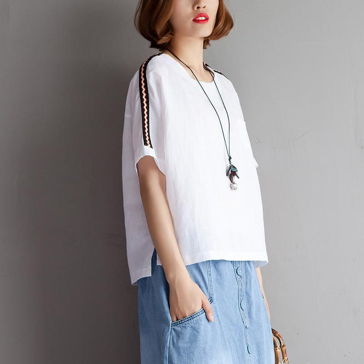 Elegant cotton linen blouse plus size clothing High-low Hem Summer Short Sleeve White Blouse