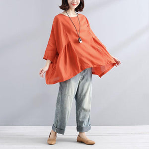 Elegant cotton linen blouse trendy plus size Loose Casual Simple Women Folded Orange Shirt