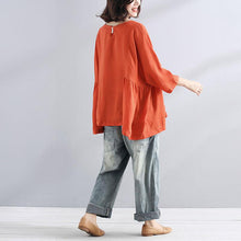 Load image into Gallery viewer, Elegant cotton linen blouse trendy plus size Loose Casual Simple Women Folded Orange Shirt