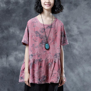 Elegant cotton linen blouses plus size Pleated Summer Short Sleeve Embroidery Pink Loose Blouse
