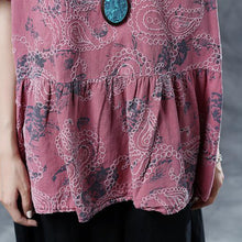 Load image into Gallery viewer, Elegant cotton linen blouses plus size Pleated Summer Short Sleeve Embroidery Pink Loose Blouse