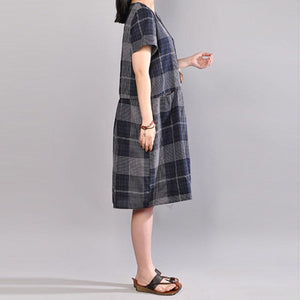 Elegant cotton shift dresses plus size clothing Short Sleeve Casual Plaid Summer Pullover Dress