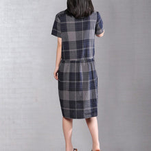 Load image into Gallery viewer, Elegant cotton shift dresses plus size clothing Short Sleeve Casual Plaid Summer Pullover Dress