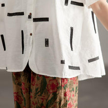 Load image into Gallery viewer, Elegant cotton shirts plus size Round Neck Short Sleeve Summer White High-low Hem Blouse