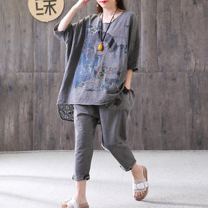 Elegant cotton summer top plus size Loose Gray Casual High-Low Hem Summer Suit