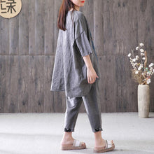 Load image into Gallery viewer, Elegant cotton summer top plus size Loose Gray Casual High-Low Hem Summer Suit