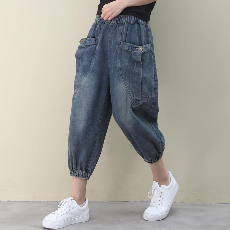 Elegant dark denim blue trousers slim summer pockets Cotton shorts