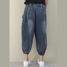 Load image into Gallery viewer, Elegant dark denim blue trousers slim summer pockets Cotton shorts