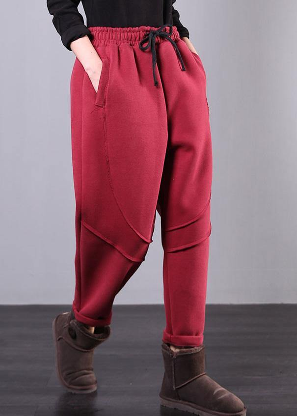 Elegant elastic waist women pants oversize red Tutorials drawstring Jeans