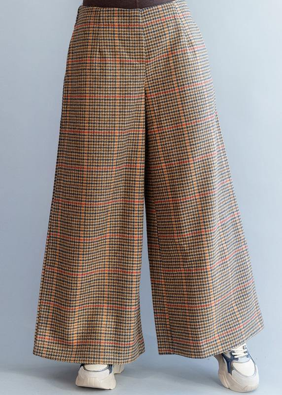 Elegant elastic waist women trousers fall fashion khaki orange plaidFashion Ideas wide leg trousers