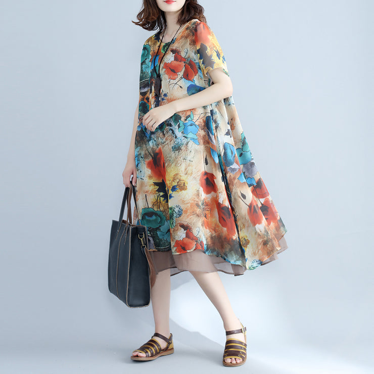 Elegant floral chiffon dress plus size holiday dresses 2018 short sleeve side open chiffon dress