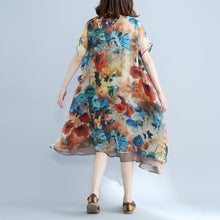 Load image into Gallery viewer, Elegant floral chiffon dress plus size holiday dresses 2018 short sleeve side open chiffon dress