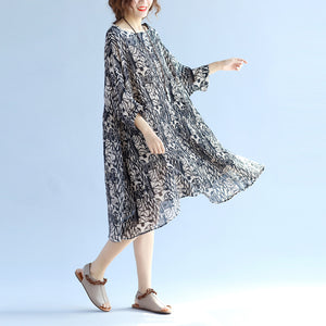 Elegant floral cotton linen knee dress oversized Batwing Sleeve large hem linen cotton dress casual O neck wrinkled dresses