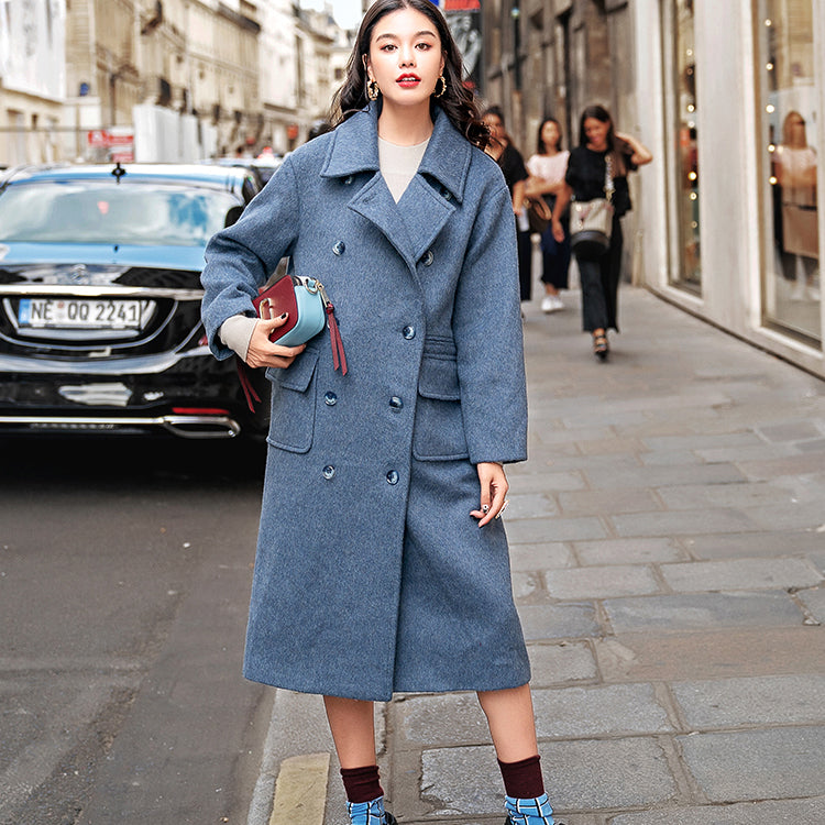 Elegant gray blue Wool Coat plus size Notched Fashion pockets double breasted Wool Coat
