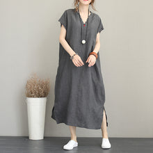 Load image into Gallery viewer, Elegant gray cotton dress trendy plus size v neck caftans 2018 side open kaftans
