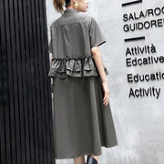 Elegant gray green cotton knee dress oversize traveling clothing 2018 lapel collar ruffles cotton clothing dresses