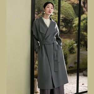 Elegant gray green woolen coats plus size clothing back open winter coat tie waist outwear