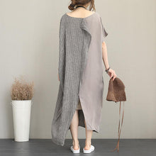Load image into Gallery viewer, Elegant gray long linen dress plus size o neck traveling dress fine back open linen caftans
