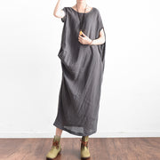 Elegant gray oversized summer linen dresses side drape asymmetrical cotton